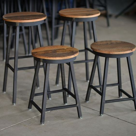 Custom Raw Steel Bar Stools